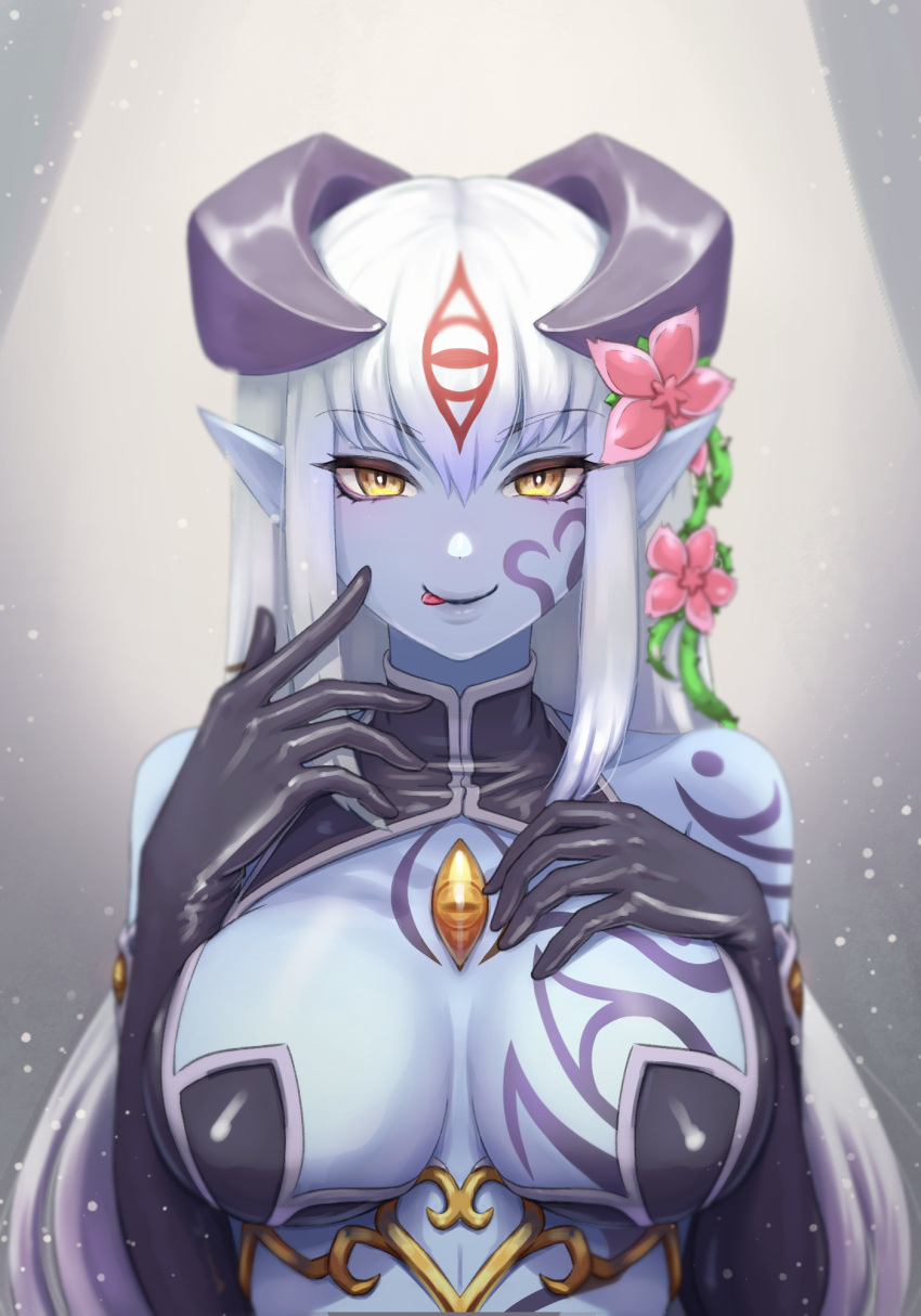 1girl :p alisfieze_fateburn_xvi black_gloves blue_skin breasts breasts_apart commentary elbow_gloves english_commentary eyebrows_visible_through_hair eyes_visible_through_hair flower gloves hair_between_eyes hair_flower hair_ornament hand_on_own_chest highres horns jing_li large_breasts long_hair looking_at_viewer mon-musu_quest! monster_girl pointy_ears smile solo tattoo tongue tongue_out upper_body white_hair yellow_eyes