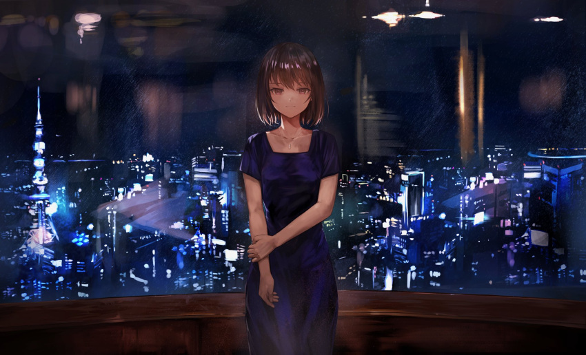 1girl bangs black_hair blue_dress breasts city_lights cityscape closed_mouth collarbone dress highres holding_own_arm indoors jewelry kyota07 looking_at_viewer medium_breasts necklace night night_sky original scenery short_hair short_sleeves sidelocks sky smile solo standing star_(sky) starry_sky tower violet_eyes window
