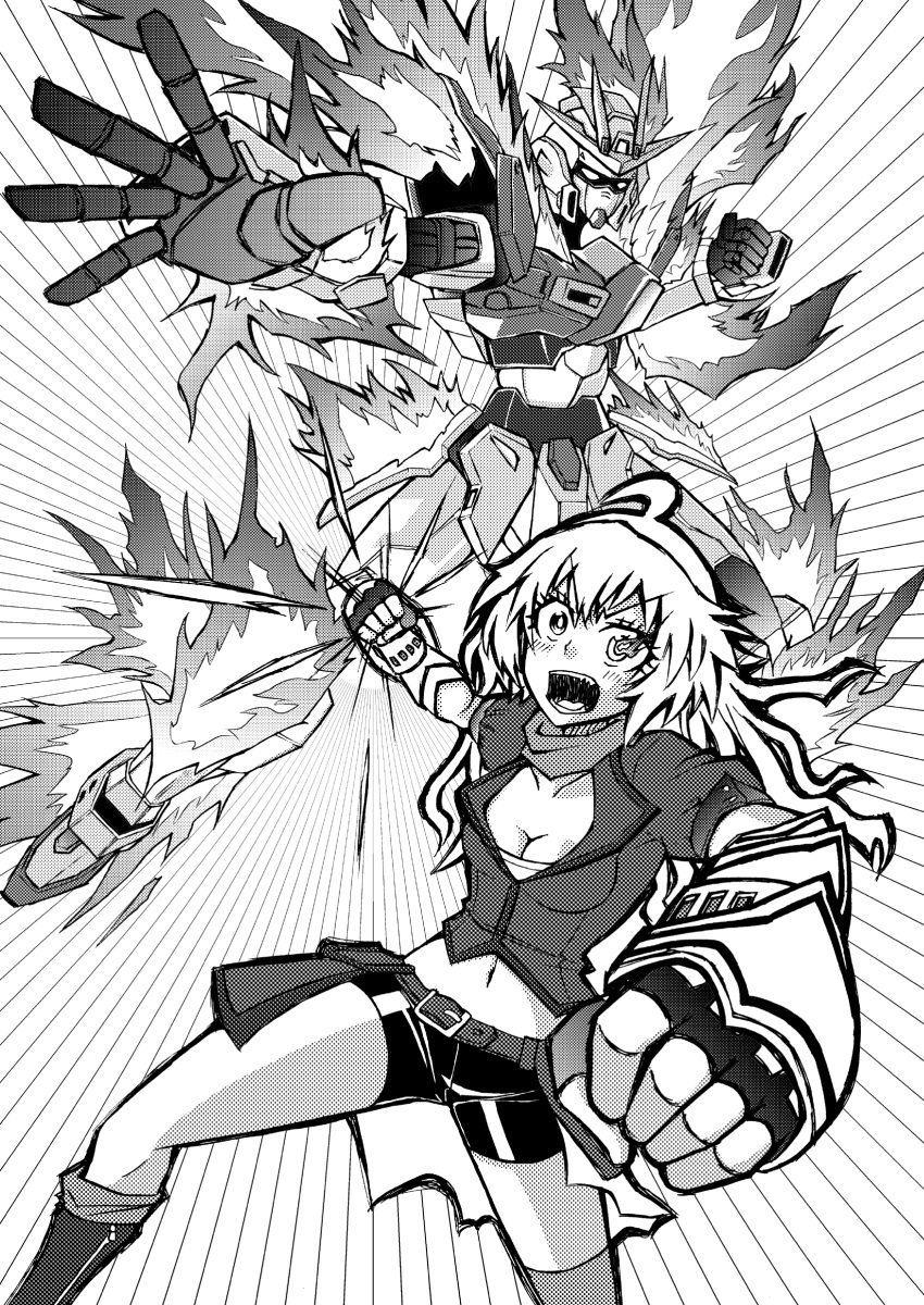 ahoge akatsuki asymmetrical_legwear belt black_gloves black_shorts blonde_hair breasts brown_jacket buckle cleavage commentary ember_celica_(rwby) fingerless_gloves fire gloves greyscale gundam gundam_build_fighters gundam_build_fighters_try highres jacket kneehighs large_breasts long_hair mecha midriff monochrome orange_scarf over-kneehighs puffy_short_sleeves puffy_sleeves red_eyes rwby scarf shirt short_sleeves shorts strapless thigh-highs try_burning_gundam tubetop violet_eyes waist_cape wavy_hair yang_xiao_long yellow_shirt