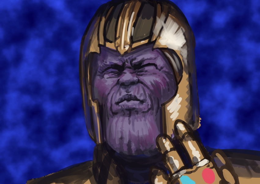 1boy absurdres avengers:_infinity_war blue_background chanta_(ayatakaoisii) closed_eyes closed_mouth hand_up helmet highres infinity_gauntlet male_focus portrait purple_skin sketch solo thanos