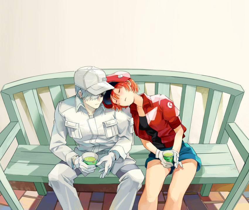 1boy 1girl ae-3803 ahoge bench blush cabbie_hat closed_eyes couple cup embarrassed flat_cap gloves hair_over_one_eye hat hataraku_saibou head_on_another's_shoulder jacket long_sleeves pants red_blood_cell_(hataraku_saibou) redhead short_hair shorts sitting sleeping touming_mao u-1146 uniform wavy_mouth white_blood_cell_(hataraku_saibou) white_hair white_skin