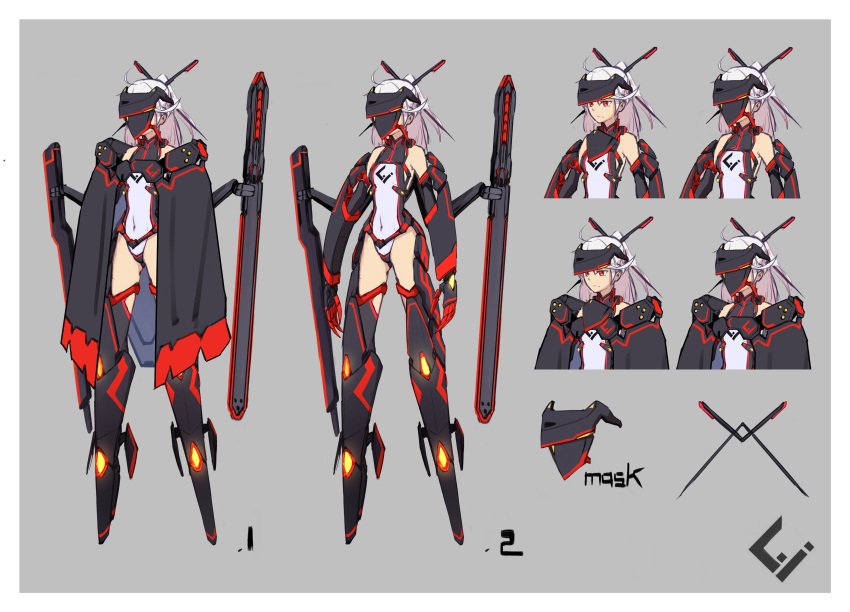 1girl absurdres armor bare_shoulders boots cape character_sheet closed_mouth covered_navel gauntlets grey_background hair_ornament hairpin highres legs_apart leotard long_hair mecha_musume navel original pink_hair ponytail red_eyes sawawse simple_background standing visor_(armor) white_leotard