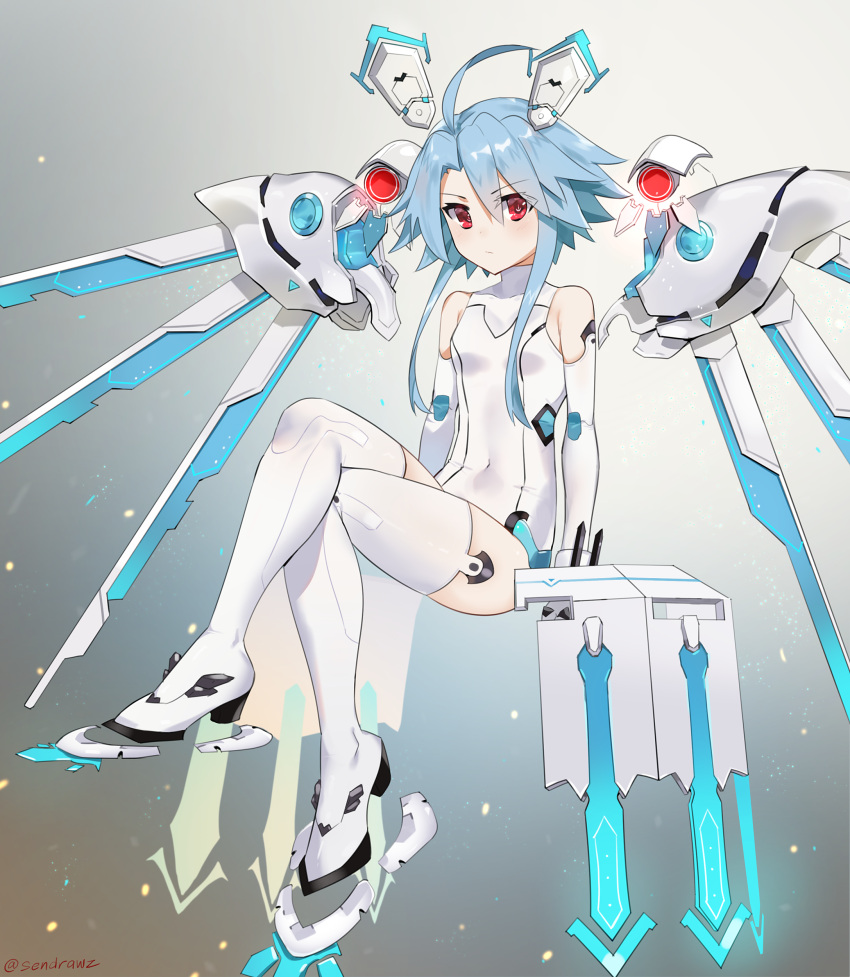 1girl absurdres artist_name bare_shoulders blue_hair boots breasts covered_navel elbow_gloves expressionless full_body gloves hair_between_eyes headgear highres legs legs_crossed leotard looking_at_viewer mechanical_wings neptune_(series) power_symbol red_eyes sendrawz short_hair_with_long_locks signature sitting skin_tight small_breasts solo symbol-shaped_pupils thigh-highs thigh_boots thighs white_gloves white_heart white_legwear white_leotard wings