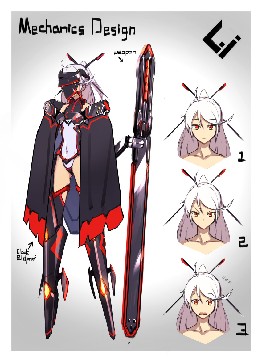 1girl absurdres black_cape boots cape character_sheet closed_mouth covered_navel embarrassed expressions flying_sweatdrops frown gradient gradient_background grey_background hair_ornament hairpin highres legs_apart leotard looking_at_viewer mecha_musume navel open_mouth original pink_hair ponytail red_eyes sawawse solo standing visor_(armor)
