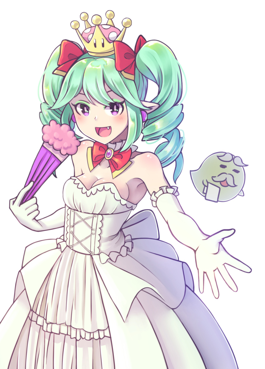 1boy 1girl :d boo bow bowtie breasts cleavage collarbone commentary_request crown detached_collar dress drill_hair elbow_gloves eyebrows eyeshadow facial_hair fan fang feather_fan folding_fan gloves green_hair hair_bow highres light_blush long_hair makeup mario_(series) medium_breasts miwa_sakura mustache new_super_mario_bros._u_deluxe nintendo open_mouth outstretched_hand paper_mario pointy_ears red_bow resaresa sebastian_(paper_mario) simple_background smile strapless strapless_dress super_crown twin_drills twintails violet_eyes white_background white_dress white_gloves