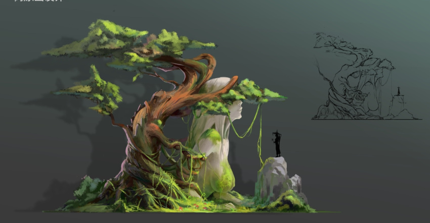 1boy 1girl bush forest hat leaf meadow moss nature original plant rock sketch statue tree vines xiao_qigai_luoke