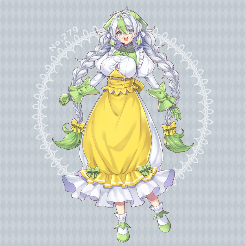 1girl :d alternate_color apron argyle argyle_background bow braid breasts creatures_(company) dress full_body game_freak gen_3_pokemon glasses gloves green_bow green_footwear green_gloves green_hair grey_background grey_eyes hair_between_eyes highres kasuka108 large_breasts long_hair low-tied_long_hair multicolored_hair nintendo open_mouth pelipper personification pokemon shiny_pokemon simple_background smile solo standing twin_braids twintails two-tone_hair white_dress white_hair yellow_apron