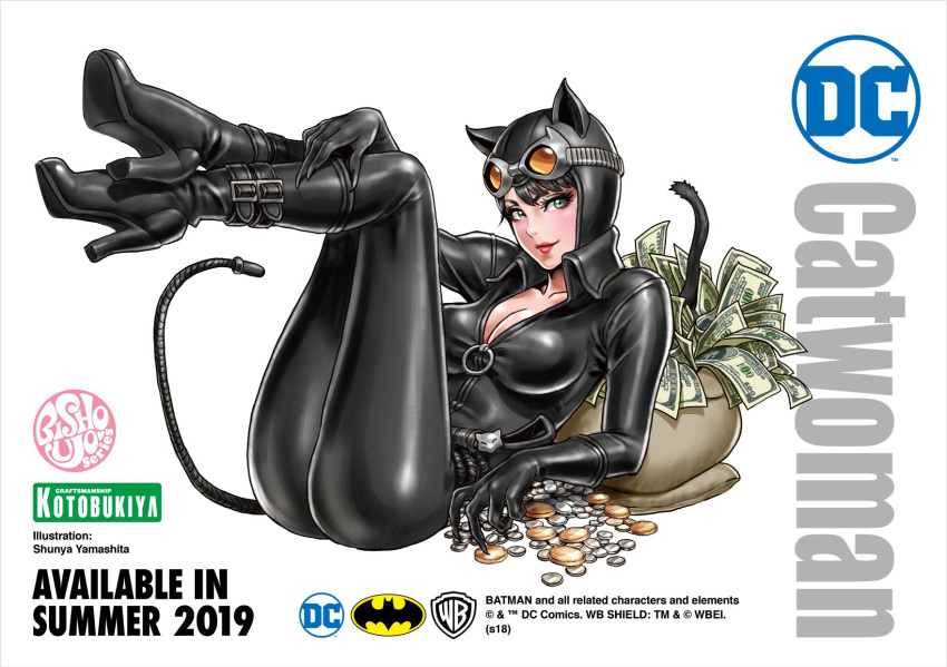 1girl animal_ears artist_name bangs batman_(series) black_bodysuit black_hair bodysuit boots breasts cat_ears cat_tail catwoman character_name cleavage collarbone fake_animal_ears gloves goggles goggles_on_head green_eyes high_heel_boots high_heels highres kotobukiya_bishoujo legs_up lips lipstick logo looking_at_viewer lying makeup medium_breasts money on_back selina_kyle shiny shiny_clothes simple_background skin_tight solo tail warner_bros whip white_background yamashita_shun'ya