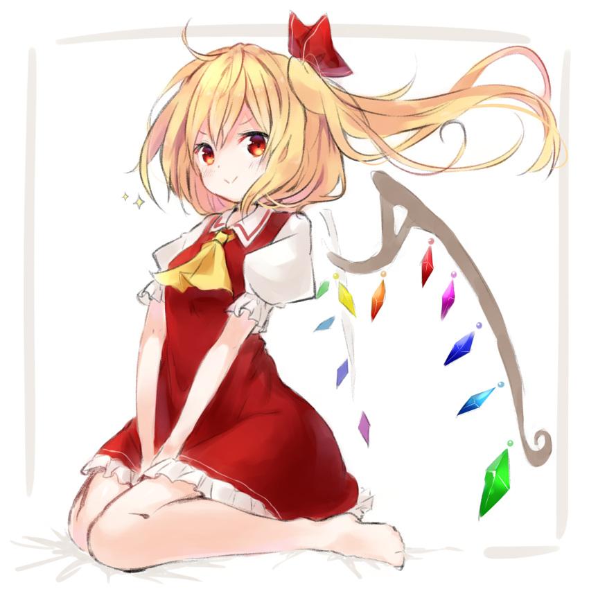 >:) 1girl ascot blonde_hair crystal fang flandre_scarlet hat highres mob_cap moe red_eyes red_skirt side_ponytail skirt solo the_embodiment_of_scarlet_devil touhou wings