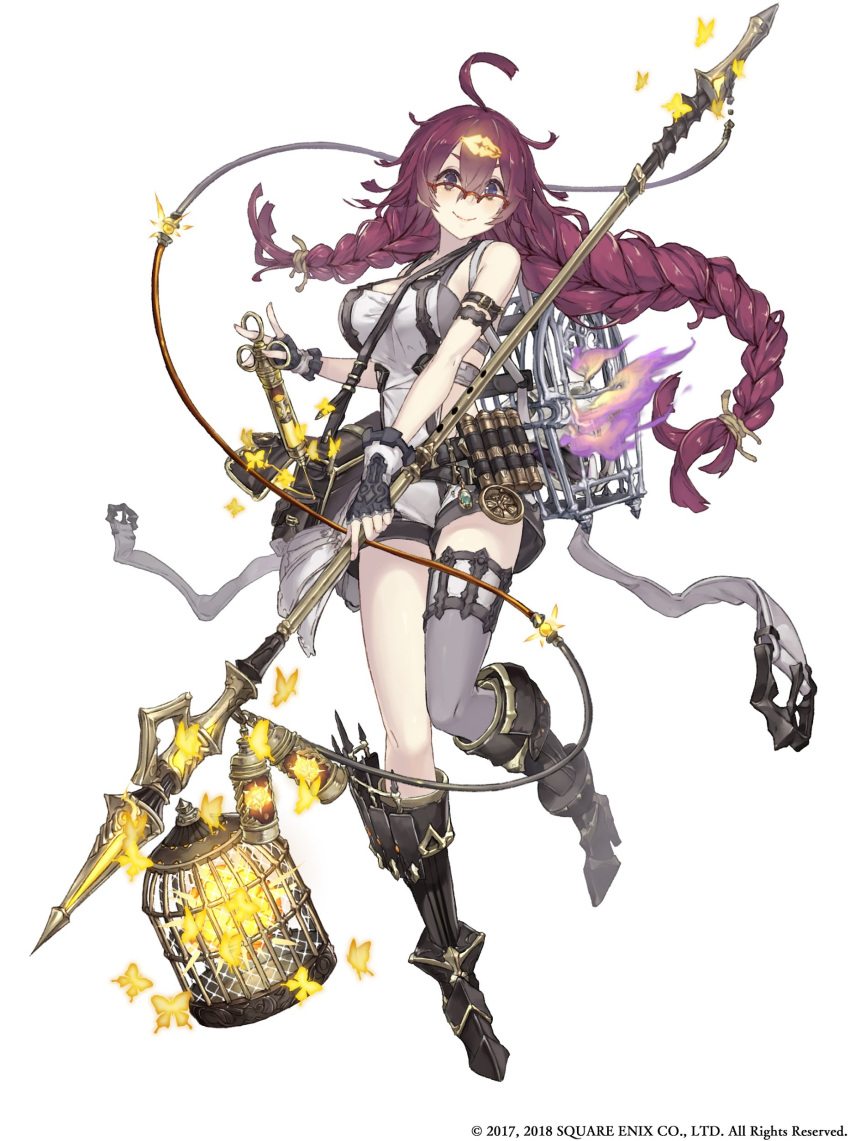 1girl absurdres ahoge animal_skull asymmetrical_hair asymmetrical_legwear bag bare_shoulders belt blue_eyes boots braid breasts bug butterfly cable cage canister dorothy_(sinoalice) fingerless_gloves full_body glasses gloves glowing_butterfly hair_ornament hairclip highres insect ji_no knee_boots large_breasts long_hair looking_at_viewer messy_hair official_art over-rim_eyewear polearm purple_hair semi-rimless_eyewear shorts shoulder_bag single_thighhigh sinoalice smile solo spear standing standing_on_one_leg syringe thigh-highs weapon white_background