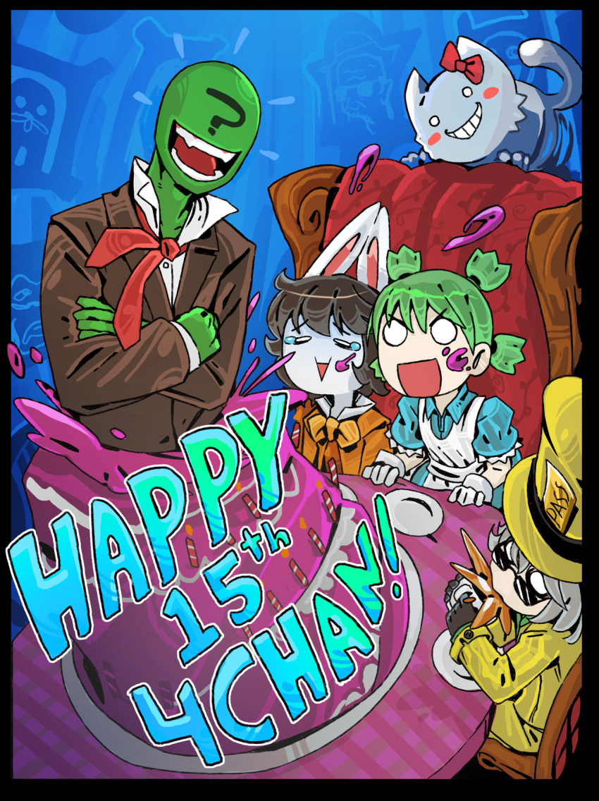 4chan ? alice_(wonderland) alice_(wonderland)_(cosplay) alice_in_wonderland animal_ears anniversary anonymous birthday_cake cake character_request cheshire_cat commentary cosplay crossed_arms english_commentary food formal green_hair green_skin happy_birthday highres koiwai_yotsuba laughing mad_hatter mad_hatter_(cosplay) multiple_girls o_o rabbit_ears ramenwarwok suit tagme tea_party yotsubato!