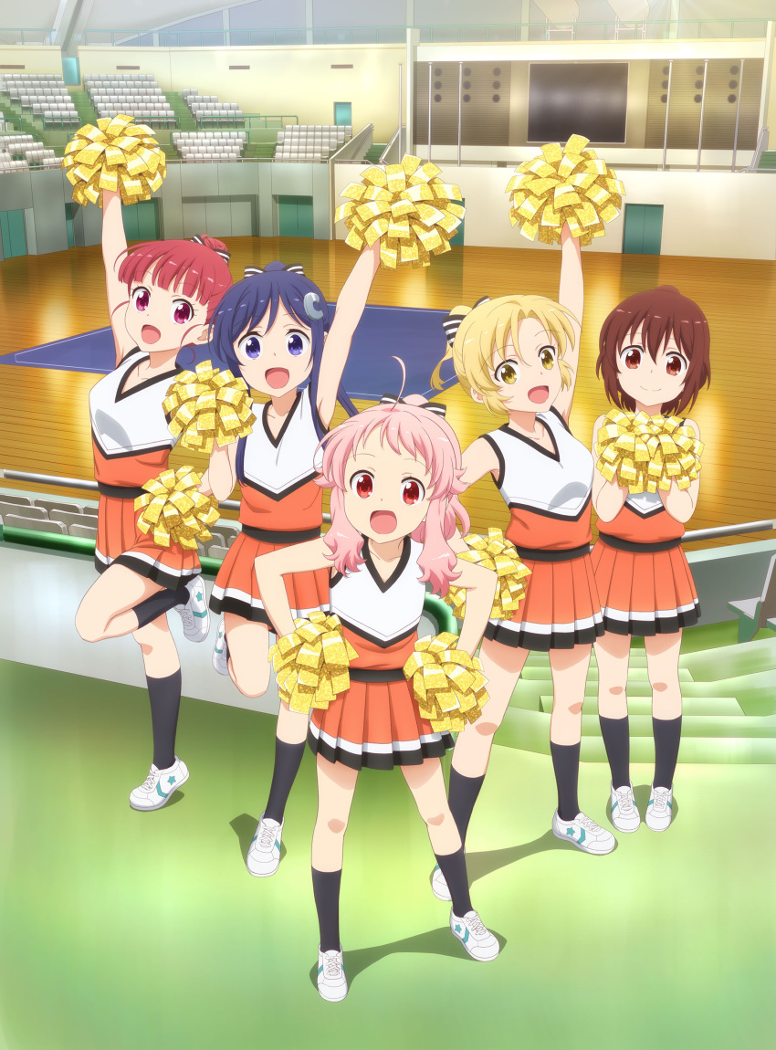 5girls :d absurdres ahoge anima_yell! arima_hizume arm_up bangs bare_arms black_legwear blonde_hair blue_eyes blue_hair blunt_bangs bow brown_eyes brown_hair cheerleader closed_mouth eyebrows_visible_through_hair from_above gym hair_between_eyes hair_bow hair_bun hair_ornament hairclip hands_on_hips hatoya_kohane highres holding holding_pom_poms indoors key_visual kneehighs leg_up legs_apart long_hair multiple_girls official_art open_mouth orange_skirt parted_bangs pigeon-toed pink_hair pleated_skirt pom_poms ponytail red_eyes redhead sawatari_uki shirt shoes short_hair sidelocks skirt sleeveless sleeveless_shirt smile sneakers standing standing_on_one_leg striped striped_bow tatejima_kotetsu ushiku_kana yellow_eyes