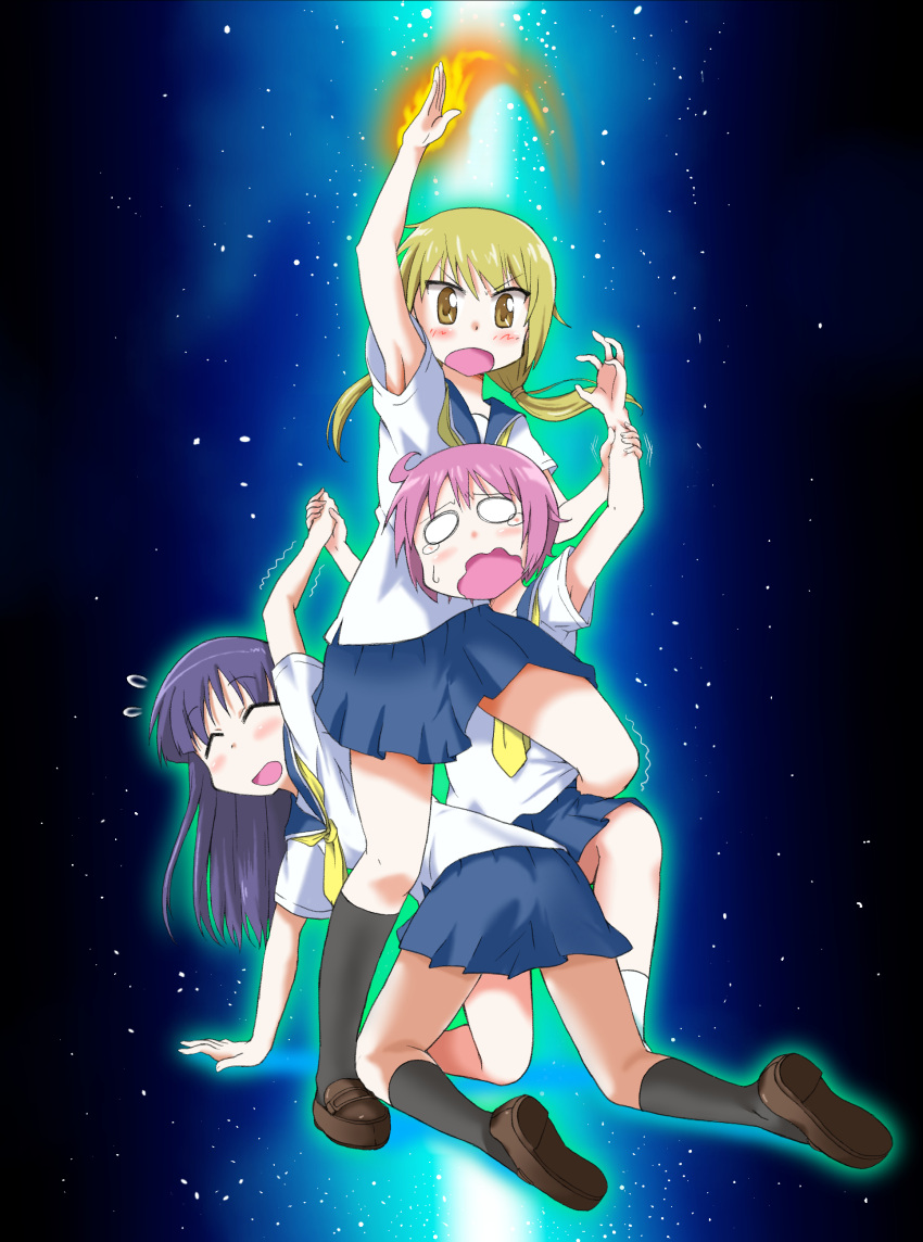 3girls absurdres angry arm_up bangs black_legwear blonde_hair brown_footwear burning_hand closed_eyes commentary_request crying crying_with_eyes_open fire gundam gundam_narrative hand_holding highres hinata_yukari ichii_yui ki_(adotadot) long_hair low_twintails miniskirt multiple_girls narrative_formation nonohara_yuzuko parody pink_hair pose purple_hair school_uniform short_hair short_sleeves sidelocks skirt standing tears trembling twintails white_legwear wrist_grab yellow_eyes yuyushiki