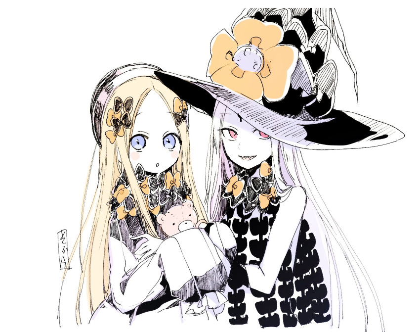 2girls :o abigail_williams_(fate/grand_order) bangs black_bow black_dress black_hat blonde_hair blue_eyes blush bow bug butterfly commentary_request dress dual_persona eyebrows_visible_through_hair fate/grand_order fate_(series) forehead hair_bow hands_up hat hat_bow highres insect long_hair long_sleeves looking_at_viewer multiple_girls object_hug orange_bow pale_skin parted_bangs parted_lips polka_dot polka_dot_bow red_eyes revealing_clothes sharp_teeth simple_background sleeves_past_fingers sleeves_past_wrists sofra stuffed_animal stuffed_toy teddy_bear teeth topless traditional_media upper_body very_long_hair white_background white_hair witch_hat