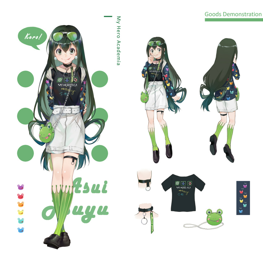 1girl :p asui_tsuyu black_footwear black_shirt boku_no_hero_academia character_name choker cola copyright_name ekita_xuan frog glasses green-tinted_eyewear green_eyes green_hair green_legwear hair_between_eyes highres kneehighs loafers long_hair looking_at_viewer low-tied_long_hair miniskirt print_shirt shiny shiny_hair shirt shoes skirt solo striped striped_legwear thigh_strap tongue tongue_out vertical-striped_legwear vertical_stripes very_long_hair white_background white_skirt