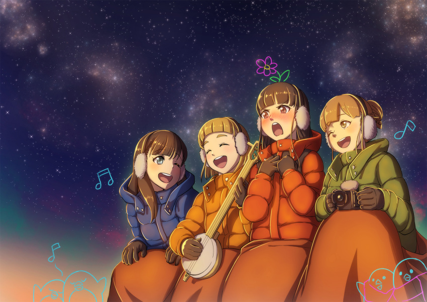 4girls :d ;d ^_^ bird black_gloves black_hair blanket blue_coat blue_eyes blush brown_eyes brown_hair camera closed_eyes closed_eyes coat earmuffs eighth_note eyebrows_visible_through_hair flower gloves green_coat highres hooded_coat instrument kobuchizawa_shirase long_hair long_sleeves looking_at_another miyake_hinata multiple_girls music musical_note night nose_blush one_eye_closed open_mouth orange_coat outdoors penguin playing_instrument red_coat reito_(1755866) shiraishi_yuzuki singing sky smile sora_yori_mo_tooi_basho star_(sky) starry_sky tamaki_mari v-shaped_eyebrows
