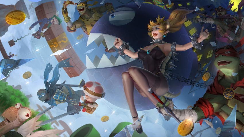 1girl 6+boys ? ?_block armor armpits backpack bag bandage bandaged_arm bandages baschyf black_leotard blonde_hair blue_earrings blue_eyes blue_overalls borrowed_design bowsette bracelet brick captain_toad chain_chomp chains coin collar crossover crown day donatello dual_wielding earrings elbow_pads facial_hair falling fisheye floating_hair food full_moon gloves goomba hanging headphones highres holding holding_food holding_sword holding_weapon horns jewelry knees_up leonardo leotard long_hair looking_afar looking_back luigi mario mario_(series) mask michelangelo midair moon multiple_boys mustache new_super_mario_bros._u_deluxe night nintendo open_mouth outdoors outstretched_arms overalls pantyhose pizza plant pointy_ears ponytail raphael sai_(weapon) scarf sharp_teeth shirt sleeveless sleeveless_shirt smile spiked_armlet spiked_bracelet spiked_collar spiked_shell spiked_tail spikes spread_arms standing strapless strapless_leotard super_crown super_mario_bros. sword tail teenage_mutant_ninja_turtles teeth turtle turtle_shell vines weapon wings