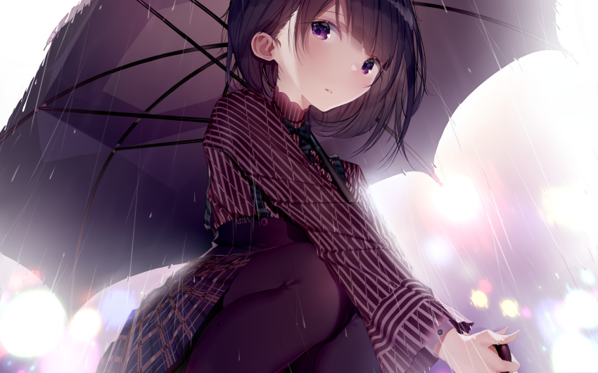 1girl atha_(leejuiping) bangs black_hair blue_skirt blurry blurry_background brown_legwear brown_shirt brown_umbrella commentary_request depth_of_field eyebrows_visible_through_hair fingernails high-waist_skirt highres holding holding_umbrella long_hair long_sleeves original pantyhose parted_lips plaid plaid_skirt pleated_skirt rain shirt short_hair skirt solo squatting striped striped_shirt umbrella vertical-striped_shirt vertical_stripes violet_eyes