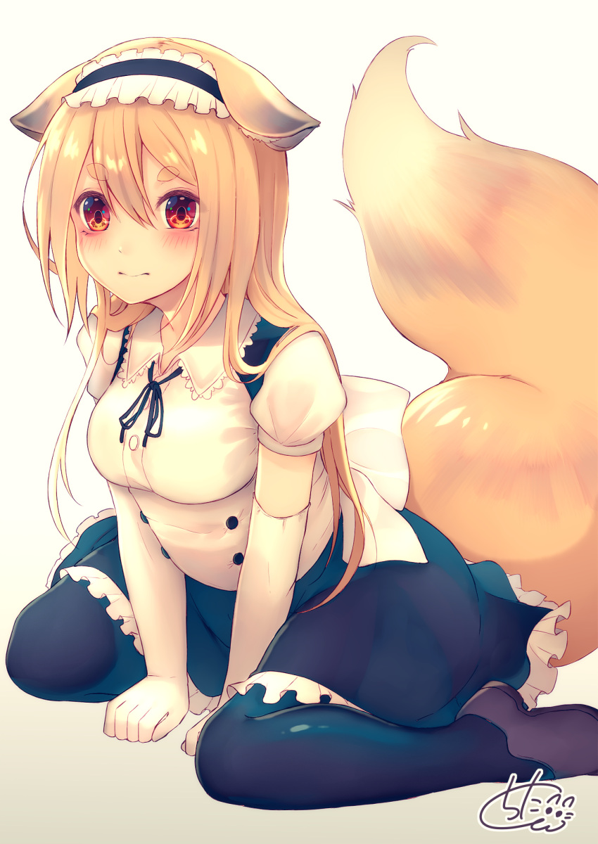 1girl animal_ear_fluff animal_ears bangs between_legs black_hairband black_legwear black_ribbon black_skirt blush breasts brown_footwear chita_(ketchup) closed_mouth collared_shirt commentary_request elbow_gloves eyebrows_visible_through_hair fox_ears fox_girl fox_tail frilled_hairband frilled_skirt frills gloves hair_between_eyes hairband hand_between_legs highres light_brown_hair long_hair looking_at_viewer medium_breasts neck_ribbon original pantyhose puffy_short_sleeves puffy_sleeves red_eyes ribbon shirt shoes short_eyebrows short_sleeves signature sitting skirt solo tail tail_raised thick_eyebrows very_long_hair wariza white_gloves white_shirt