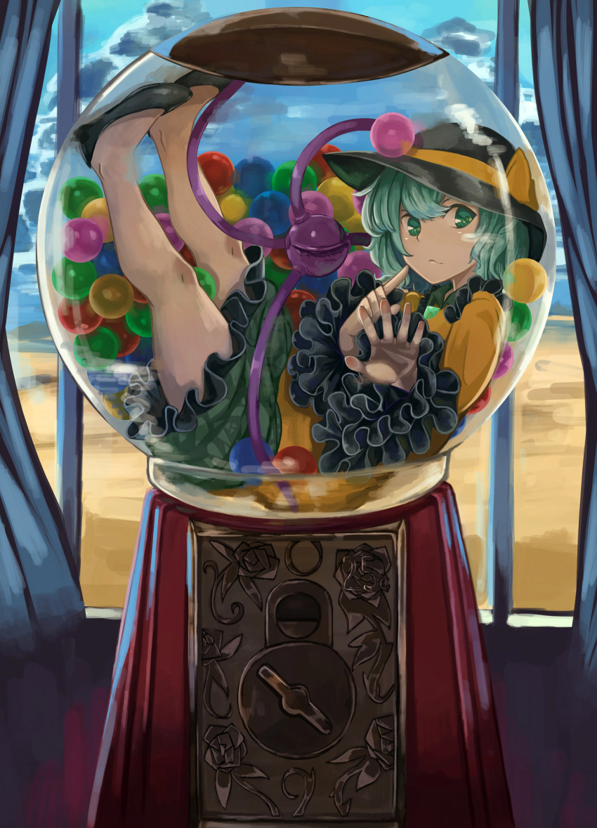 1girl against_glass blue_sky bow candy chewing_gum clouds collared_shirt curtains desert eyeball floral_print food frilled_sleeves frills glass green_eyes green_hair green_skirt gumball gumball_machine hakai_no_ika hat hat_bow hat_ribbon heart heart_of_string highres indoors komeiji_koishi long_sleeves medium_hair mountain pointing pointing_at_self ribbon sand shirt shoes skirt sky solo string third_eye touhou wavy_hair wide_sleeves window yellow_ribbon yellow_shirt