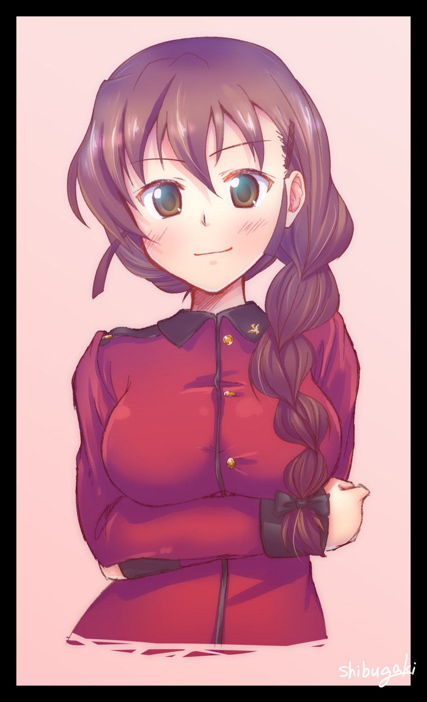 1girl absurdres artist_name black_border border bow braid brown_eyes brown_hair closed_mouth commentary_request cropped_torso crossed_arms epaulettes eyebrows_visible_through_hair girls_und_panzer hair_bow hair_ornament hair_over_shoulder hair_tie hairclip highres jacket long_hair long_sleeves looking_at_viewer military military_uniform red_jacket rukuriri shibugaki signature single_braid smile solo st._gloriana's_military_uniform standing uniform upper_body