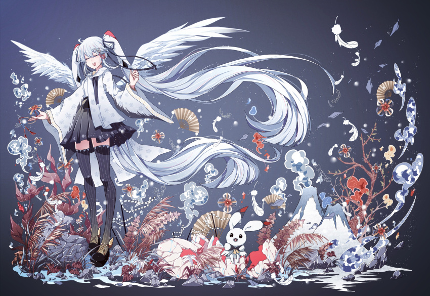 1girl absurdly_long_hair azure-aoi- black_footwear black_hakama black_legwear black_ribbon blue_background closed_eyes eyebrows_visible_through_hair fan feathered_wings floating_hair full_body hair_between_eyes hair_ribbon hakama hakama_skirt hatsune_miku highres japanese_clothes kimono long_hair long_sleeves open_mouth ribbon silver_hair smile solo striped striped_legwear thigh-highs vertical-striped_legwear vertical_stripes very_long_hair vocaloid white_feathers white_kimono white_wings wide_sleeves wings yuki_miku