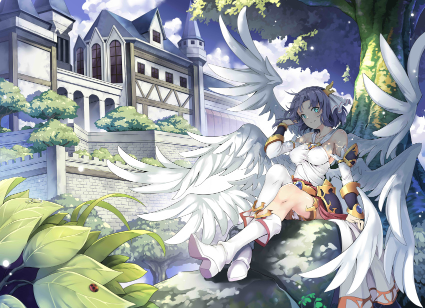 1girl absurdres angel angel_wings bare_shoulders black_hair blue_eyes blush boots breasts bug character_request closed_mouth collarbone copyright_request day eyebrows_visible_through_hair high_heel_boots high_heels highres insect jie_laite knee_boots ladybug langrisser large_breasts looking_at_viewer outdoors short_hair single_knee_boot single_thigh_boot sitting smile solo tree white_footwear wings