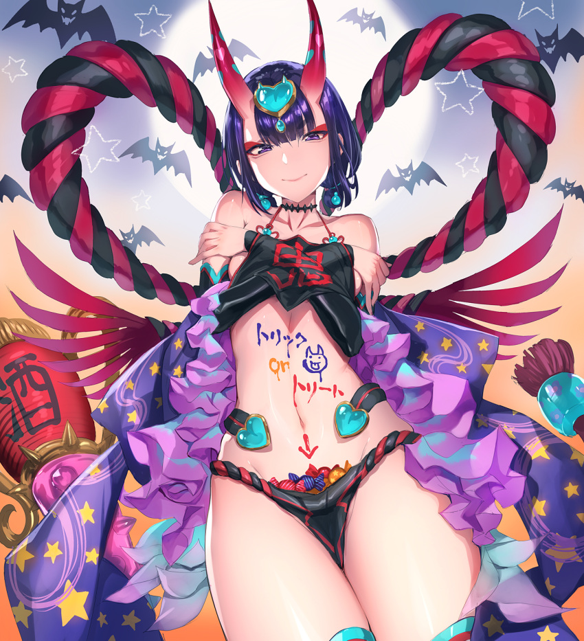 1girl bangs bare_shoulders bat bob_cut body_writing breasts candy closed_mouth club collarbone crossed_arms dudou earrings fate/grand_order fate_(series) food full_moon fundoshi halloween hands_on_own_chest headpiece heart highres hips horns japanese_clothes jewelry looking_at_viewer low_twintails mhk_(mechamania) moon navel oni oni_horns purple_hair rope short_eyebrows short_hair short_twintails shuten_douji_(fate/grand_order) small_breasts smile solo spiked_club thighs twintails violet_eyes waist weapon