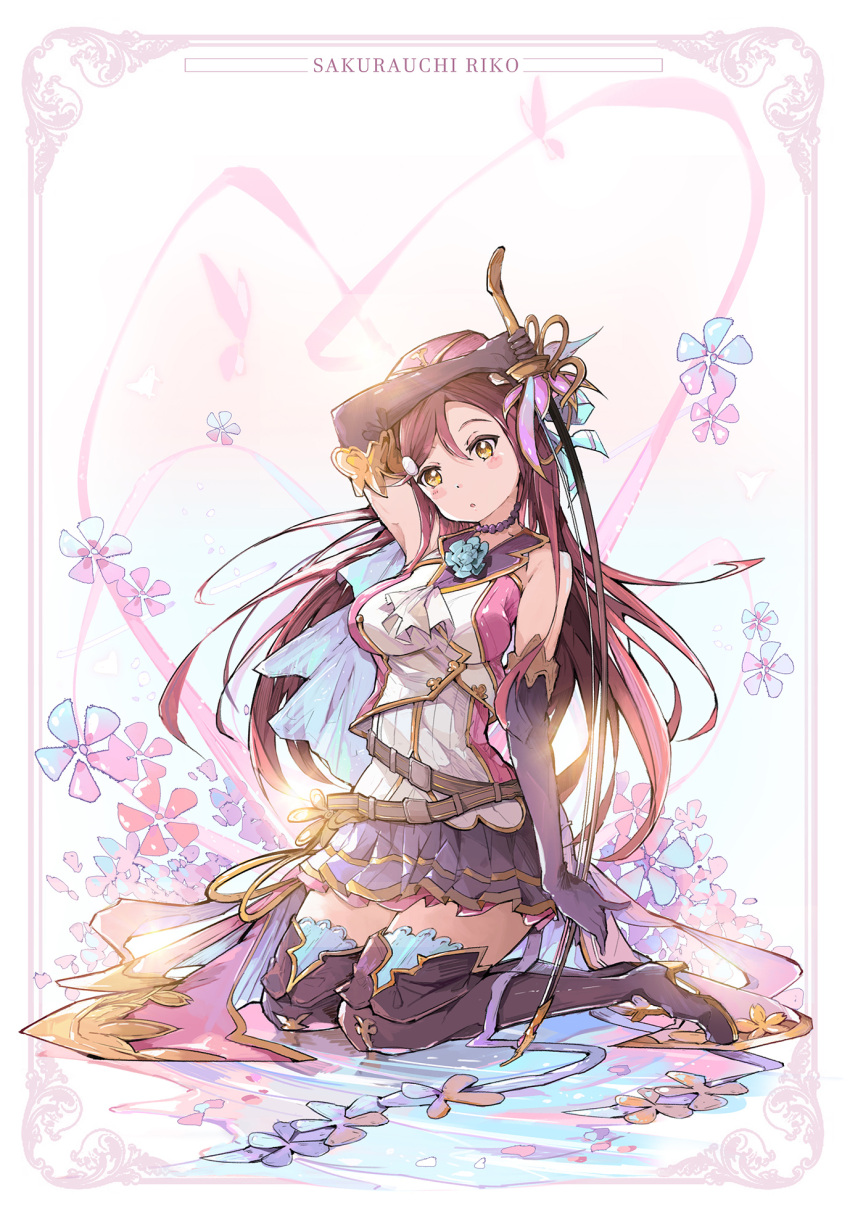 1girl :o arm_up ascot belt black_footwear black_gloves blue_capelet blue_flower blush_stickers boots bow_(instrument) capelet character_name choker elbow_gloves flower gloves granblue_fantasy hair_ornament hairclip high_heel_boots high_heels highres holding holding_sword holding_weapon kneeling long_hair looking_at_viewer love_live! love_live!_sunshine!! miniskirt overskirt pinky_out pleated_skirt qianqian redhead sakurauchi_riko skirt sleeveless solo sword thigh-highs thigh_boots weapon white_neckwear yellow_eyes