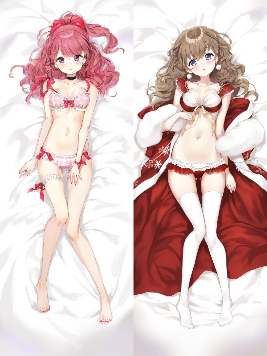 2girls absurdres bangs bare_arms bare_legs bare_shoulders barefoot bed bed_sheet black_choker blue_eyes blush bow bow_bra bow_panties bra breasts brown_hair cherry_earrings choker collarbone commentary_request curly_hair dakimakura earrings eyebrows_visible_through_hair fingernails food_themed_earrings frilled_bra frilled_panties frills fur_collar gluteal_fold hair_between_eyes hair_bow hair_ornament hairclip head_tilt high_ponytail highres japanese_clothes jewelry kimono leg_garter long_hair looking_at_viewer lying medium_breasts mullpull multicolored multicolored_bra multicolored_clothes multicolored_panties multiple_girls nail_polish navel no_shoes on_back open_clothes open_kimono original panties parted_lips pink_bra pink_panties plaid plaid_bra plaid_panties ponytail print_kimono red_bow red_bra red_kimono red_nails red_panties redhead ribbon small_breasts smile snowflake_print thigh-highs underwear underwear_only violet_eyes white_bra white_legwear white_panties x_hair_ornament yellow_ribbon