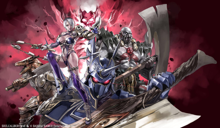1girl 4boys astaroth_(soulcalibur) axe highres holding holding_axe holding_sword holding_weapon isabella_valentine junny lizardman_(soulcalibur) multiple_boys nightmare_(soulcalibur) soul_edge_(weapon) soulcalibur_vi sword weapon zweihander