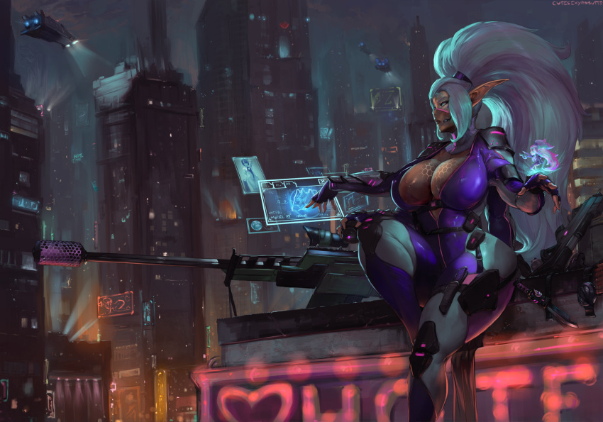 1girl arm_guards armor assault_rifle augmented_reality big_hair billboard blue_eyes bodysuit breasts building city cityscape cleavage commission curvy cutesexyrobutts cyberpunk fantasy fingerless_gloves gloves gun heads-up_display high_ponytail highres hologram holographic_interface holographic_touchscreen huge_breasts knee_pads knife knife_holster lights long_hair mask microphone mutant neon_lights night night_sky ninja_mask open_bodysuit original pointy_ears ponytail purple_bodysuit rifle science_fiction shoulder_pads sidelocks sitting sky skyscraper sniper_rifle space_craft strap tan thick_thighs thighs vehicle very_long_hair weapon white_hair wide_hips