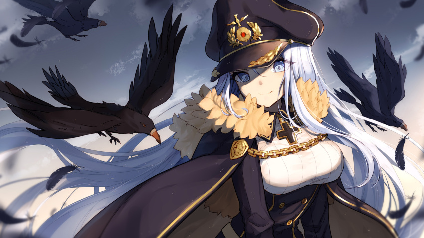 1girl animal bangs bird bison_cangshu black_cape black_feathers black_hat black_skirt blue_eyes blue_sky breasts cape chains character_request closed_mouth clouds collared_shirt commentary day feathers fur-trimmed_cape fur_trim hair_between_eyes hat head_tilt high-waist_skirt highres iron_cross long_hair long_sleeves medium_breasts military_hat outdoors peaked_cap shirt silver_hair skirt sky smile solo very_long_hair white_shirt zhan_jian_shao_nyu