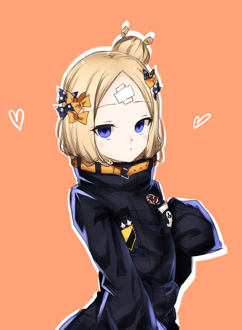 1girl abigail_williams_(fate/grand_order) bangs black_bow black_jacket blonde_hair blue_eyes blush bow brown_background closed_mouth commentary_request crossed_bandaids eyebrows_visible_through_hair fate/grand_order fate_(series) hair_bow hair_bun hand_up heart heroic_spirit_traveling_outfit highres jacket koro_(tyunnkoro0902) long_hair long_sleeves looking_at_viewer orange_bow outline parted_bangs polka_dot polka_dot_bow sleeves_past_fingers sleeves_past_wrists solo star white_outline
