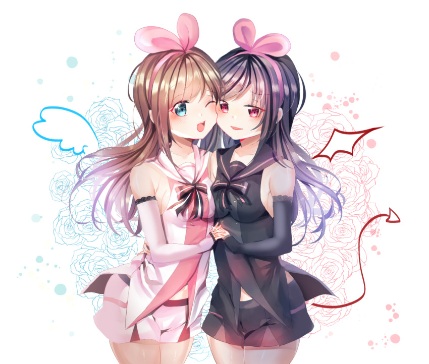 2girls ;d a.i._channel bare_shoulders black_bow black_hair black_shirt blue_eyes blue_sailor_collar blue_shorts blush bow breasts brown_hair cheek-to-cheek commentary_request cowboy_shot dark_persona demon_tail demon_wings detached_sleeves drawn_tail drawn_wings dress flower hair_ribbon hairband hand_holding interlocked_fingers kizuna_ai long_hair long_sleeves mini_wings miyo_(user_zdsp7735) multiple_girls navel one_eye_closed open_mouth parted_lips pink_hairband pink_ribbon red_eyes ribbon rose sailor_collar shirt short_shorts shorts siblings sleeveless sleeveless_dress sleeves_past_wrists small_breasts smile striped striped_bow tail twins very_long_hair virtual_youtuber white_background white_sailor_collar white_shirt wings yuri