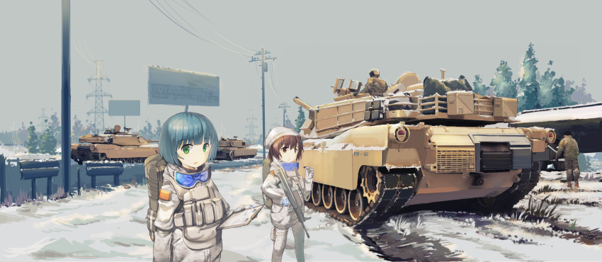 2boys 2girls absurdres assault_rifle blue_hair brown_eyes brown_hair bullpup caterpillar_tracks chocolate day eating graphite_(medium) green_eyes ground_vehicle gun highres m1_abrams military military_uniform military_vehicle motor_vehicle multiple_boys multiple_girls original qbz-95 rifle short_hair snow tank traditional_media tree uniform weapon zhongye_yu
