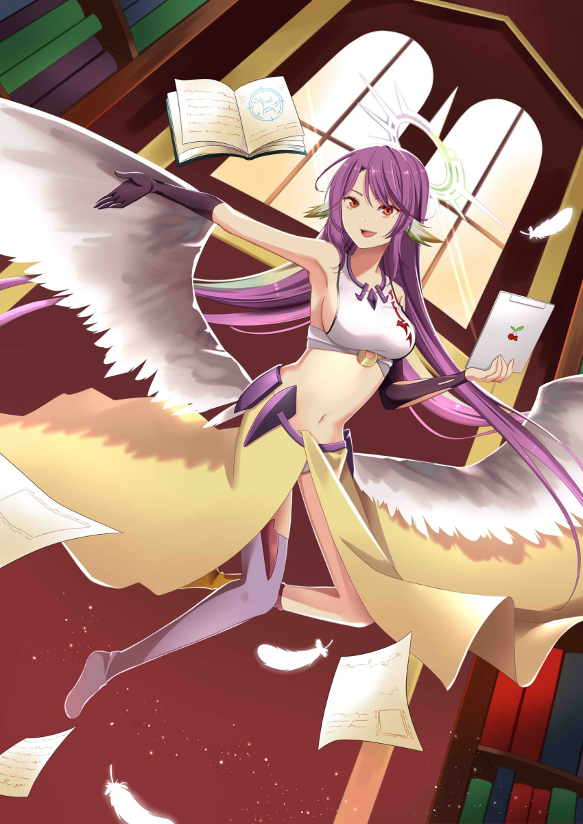 1girl angel_wings artist_request book breasts commentary crop_top feathered_wings feathers gloves gradient_hair halo highres jibril_(no_game_no_life) long_hair low_wings magic_circle medium_breasts midriff mismatched_legwear multicolored multicolored_eyes multicolored_hair navel no_game_no_life open_mouth orange_eyes pink_hair shoes sideboob single_shoe smile solo tablet_pc very_long_hair white_wings wing_ears wings yellow_eyes