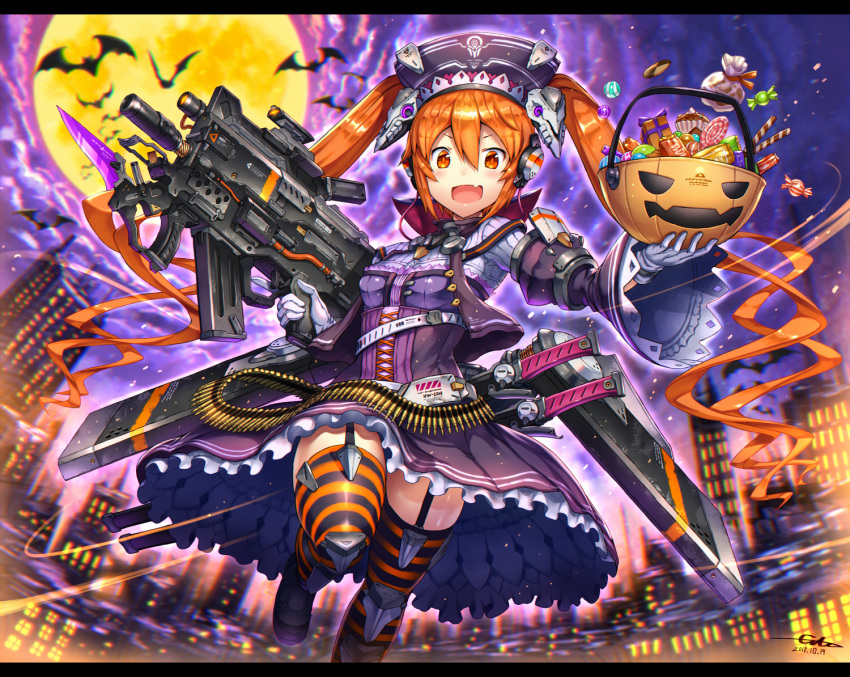 1girl bat blurry blurry_background candy city dress facing_viewer fang food frilled_dress frills full_moon garter_straps gia gloves gun halloween halloween_basket hat headphones holding holding_gun holding_weapon long_hair looking_at_viewer moon open_mouth orange_eyes orange_hair original purple_sky running solo thigh-highs trigger_discipline twintails very_long_hair weapon white_gloves wide_sleeves