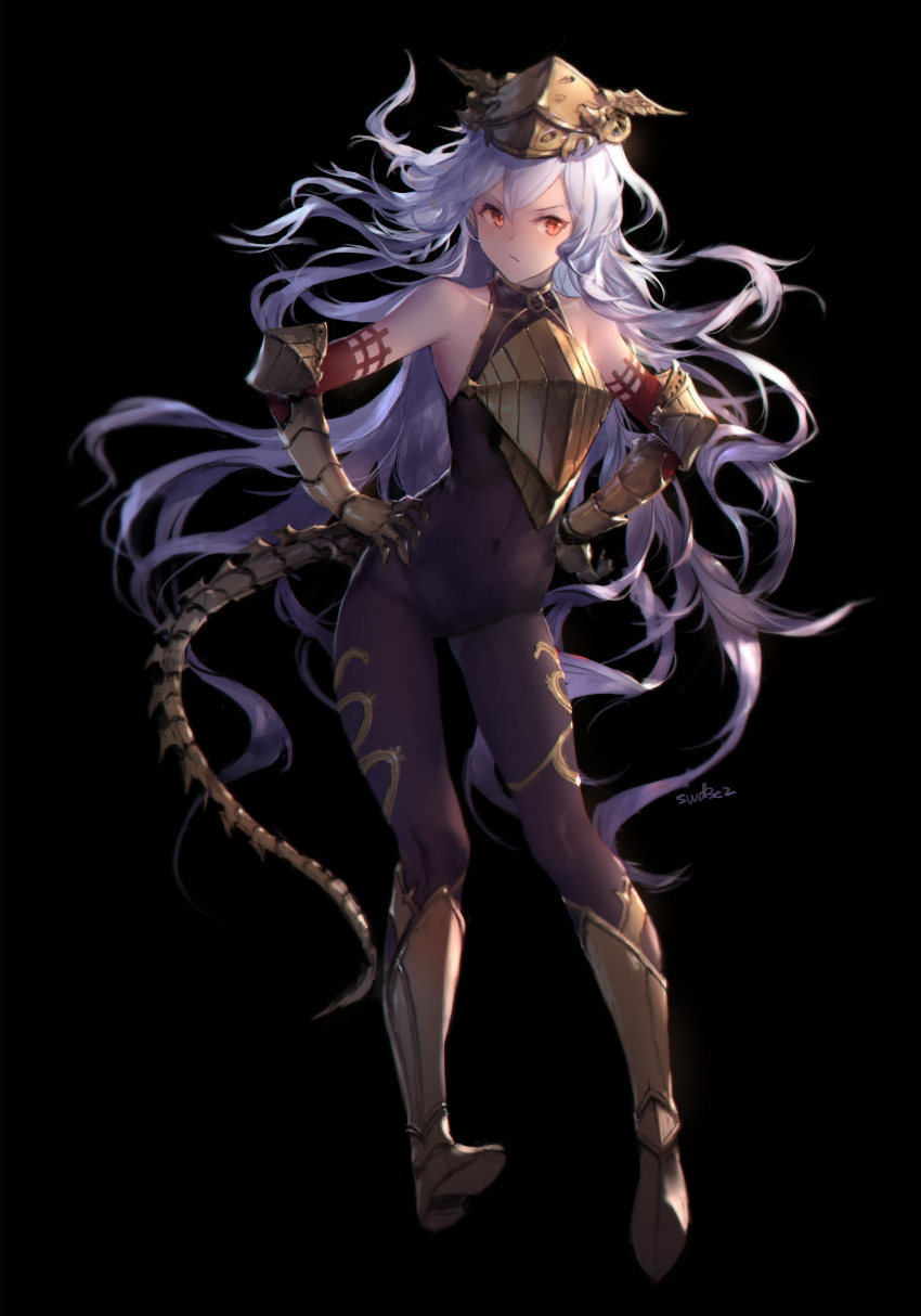 1girl absurdres armored_boots bangs bare_shoulders black_background black_bodysuit bodysuit boots brown_footwear closed_mouth commentary_request contrapposto covered_navel eyebrows_visible_through_hair floating_hair gauntlets granblue_fantasy hair_between_eyes hands_on_hips headpiece highres knee_boots long_hair looking_at_viewer purple_hair red_eyes shoe_soles signature simple_background solo standing swd3e2 tail v-shaped_eyebrows very_long_hair