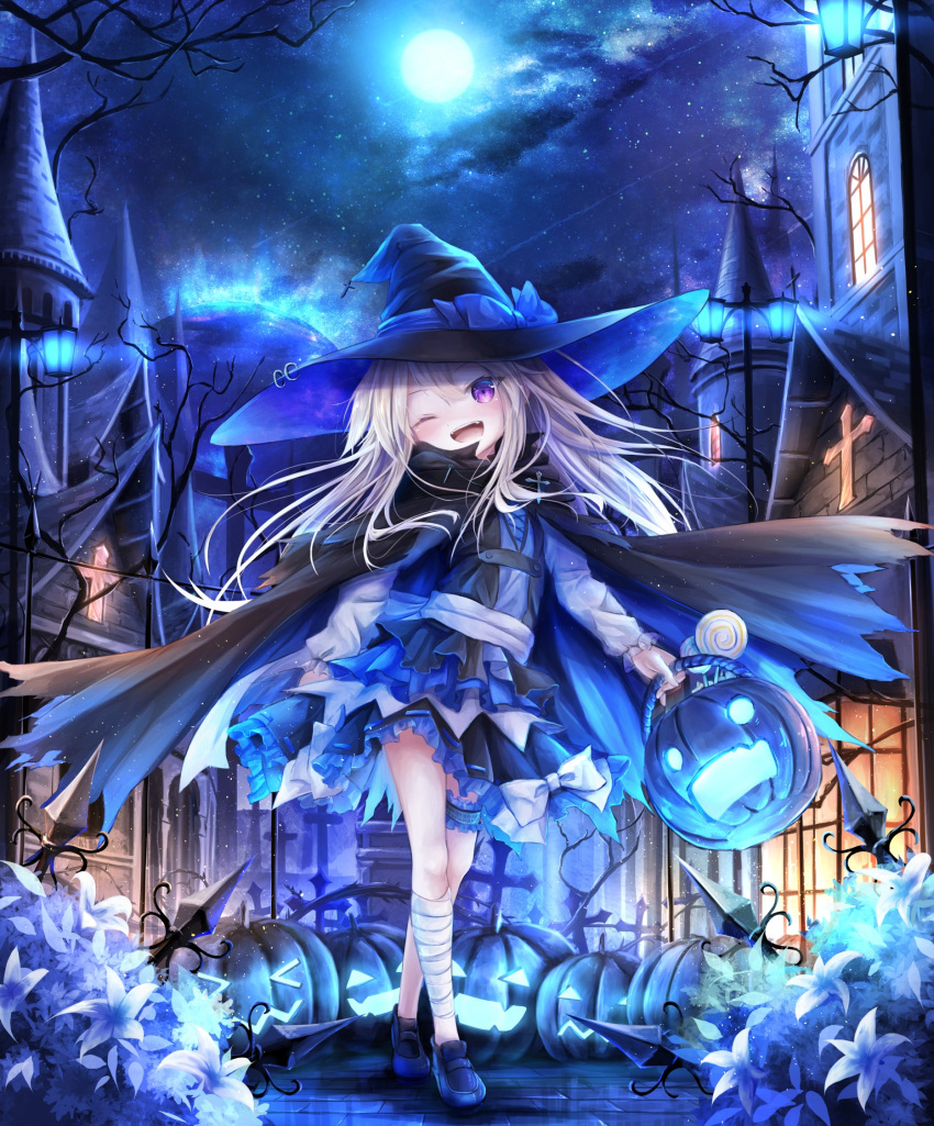 >_< 1girl ;d bandage bandaged_leg bandages bangs black_cape black_hat black_skirt black_vest blue_bow blue_cape blue_footwear blush bow building candy cape commentary_request crossed_legs eyebrows_visible_through_hair fangs flower food frilled_skirt frills full_moon grey_hair hair_between_eyes halloween halloween_basket hat hat_bow head_tilt highres holding jack-o'-lantern lamppost legs_crossed loafers lollipop long_hair long_sleeves looking_at_viewer moon multicolored multicolored_cape multicolored_clothes night night_sky no_socks one_eye_closed open_mouth original outdoors ribbon-trimmed_skirt ribbon_trim shirt shoes skirt sky smile solo standing star_(sky) starry_sky swirl_lollipop tower utatanecocoa very_long_hair vest violet_eyes watson_cross white_flower white_shirt window witch_hat