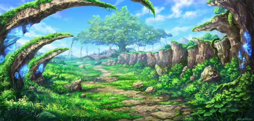 artist_name blue_sky clouds crystal day fantasy giant_tree grass no_humans noyaariho original outdoors plant road rock roots scenery sky tree vines