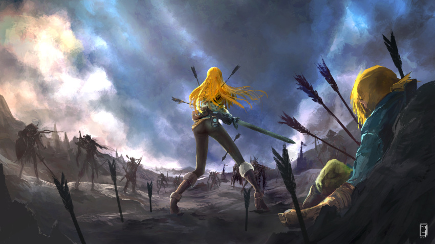 1boy 1girl absurdres against_rock arrow arrow_in_body ass battlefield black_legwear blonde_hair blood boots completion_time fanny_pack fighting_stance from_behind highres injury knee_boots link long_hair master_sword matias_habert monster nintendo pantyhose princess_zelda role_reversal sheikah_slate short_ponytail sword the_legend_of_zelda the_legend_of_zelda:_breath_of_the_wild weapon