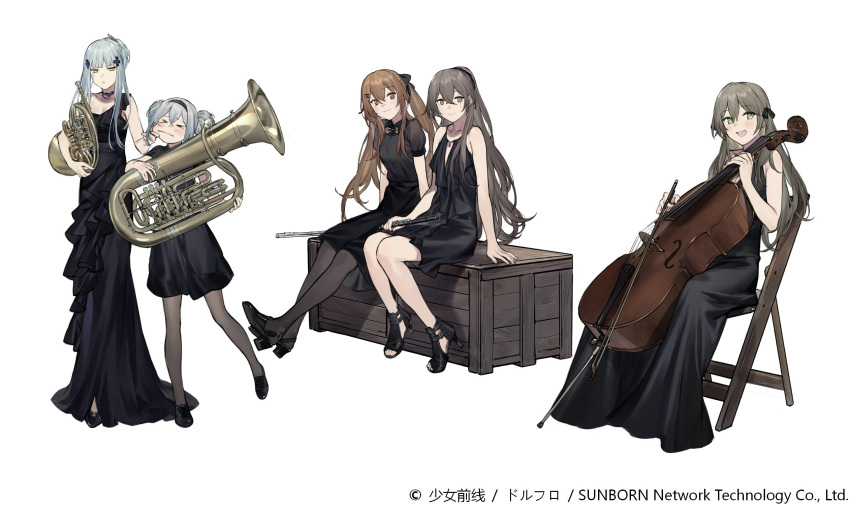 >_< 404_(girls_frontline) 5girls :3 :d :o alternate_costume alternate_hairstyle bangs black_dress black_footwear black_hairband black_legwear black_ribbon blush breasts brown_eyes brown_hair cello chair cheek_pull choker clarinet cleavage collarbone crossed_bangs double_bun dress duoyuanjun eyebrows_visible_through_hair flute french_horn g11_(girls_frontline) girls_frontline green_eyes grey_hair hair_between_eyes hair_ornament hair_up hairband hairclip high_heels highres hk416_(girls_frontline) holding holding_instrument instrument long_hair looking_at_viewer medium_breasts multiple_girls official_art one_side_up open_mouth pantyhose ponytail ribbon scar scar_across_eye shoes sidelocks silver_hair simple_background single_strap sitting small_breasts smile star star-shaped_pupils symbol-shaped_pupils trombone twintails ump40_(girls_frontline) ump45_(girls_frontline) ump9_(girls_frontline) very_long_hair white_background yellow_eyes