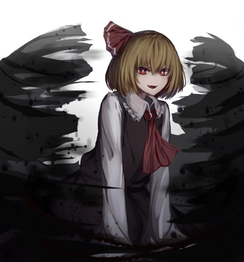 1girl :d alder ascot black_skirt black_vest blonde_hair commentary darkness fangs hair_between_eyes hair_ribbon highres long_sleeves looking_at_viewer open_mouth red_eyes red_neckwear red_ribbon ribbon rumia shirt short_hair simple_background skirt skirt_set smile solo touhou vest white_shirt