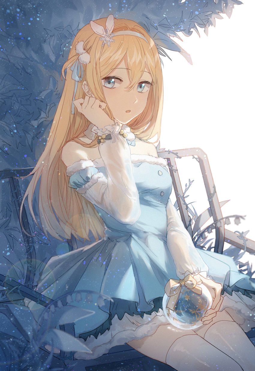 1girl :o absurdres adjusting_hair bangs bench blonde_hair blue_dress blue_eyes breasts candy_(pixiv15231759) detached_collar dress eyebrows_visible_through_hair fur-trimmed_dress fur-trimmed_sleeves fur_collar fur_trim girls_frontline hair_between_eyes hair_ornament hairband hand_up highres holding layered_dress lens_flare light_particles long_hair long_sleeves looking_at_viewer off-shoulder_dress off_shoulder one_side_up open_mouth plant ribbon see-through sitting small_breasts snow_globe snowflake_hair_ornament solo star straight_hair suomi_kp31_(girls_frontline) thigh-highs very_long_hair white_hair white_hairband yellow_ribbon zettai_ryouiki