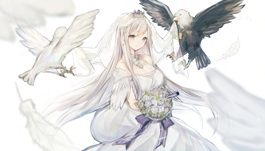 1girl aircraft airplane azur_lane bird bouquet breasts bridal_veil cleavage cowboy_shot crown detached_collar dove dress eagle enterprise_(azur_lane) feathers flower highres himino0 large_breasts long_hair looking_at_viewer mini_crown silver_hair smile solo veil violet_eyes wedding_dress white_background
