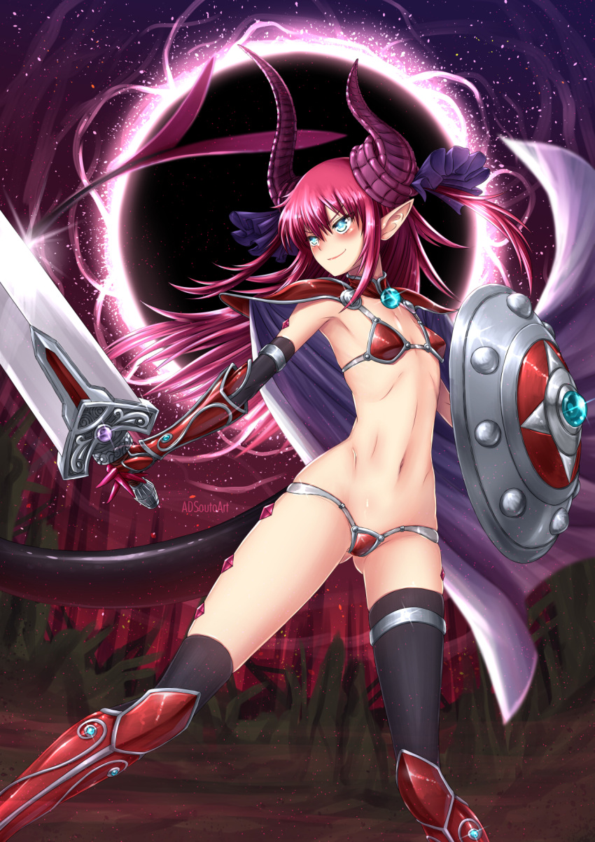 1girl adsouto armlet armor artist_name ass_visible_through_thighs asymmetrical_horns asymmetrical_legwear bikini_armor black_legwear blue_eyes blush boots breasts cape commentary curled_horns dragon_girl dragon_horns dragon_tail elbow_gloves elizabeth_bathory_(fate) elizabeth_bathory_(fate)_(all) english_commentary eyebrows_visible_through_hair fate/grand_order fate_(series) gloves highres horns legs_apart long_hair looking_to_the_side navel night pauldrons pink_hair pointy_ears red_armor shield silver_trim small_breasts smile solo sword tail thigh-highs thigh_strap vambraces watermark weapon