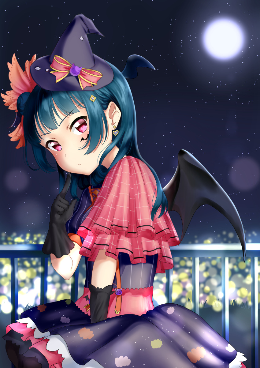 1girl absurdres black_gloves black_legwear black_wings blue_dress blue_hair blue_wings bow commentary_request dress earrings elbow_gloves full_moon gloves hair_bun halloween hat hat_bow head_tilt head_wings heart heart_earrings highres index_finger_raised jewelry long_hair looking_at_viewer looking_to_the_side love_live! love_live!_sunshine!! luna_(mi-chanman) mini_hat mini_witch_hat moon night night_sky pantyhose parted_lips pleated_dress puffy_short_sleeves puffy_sleeves purple_hat red_bow short_sleeves side_bun sitting sky solo star_(sky) starry_sky striped tilted_headwear tsushima_yoshiko vertical-striped_dress vertical_stripes violet_eyes wings witch_hat