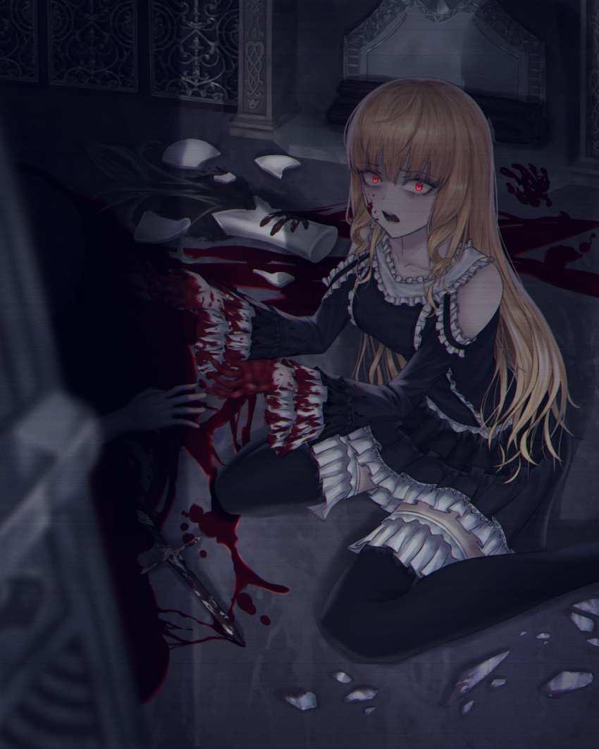 1girl bangs black_dress black_legwear blonde_hair blood blood_on_face blood_stain bloody_clothes breasts commentary dagger detached_sleeves dlwhdals901 dress english_commentary hair_between_eyes hands highres indoors long_hair looking_at_viewer medium_breasts open_mouth original red_eyes sitting solo_focus thigh-highs vase wariza weapon