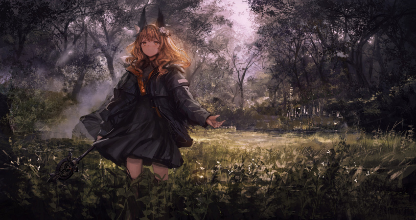 1girl absurdres animal_ears arm_at_side bangs black_dress black_jacket brown_eyes brown_hair closed_mouth day dress expressionless flower forest grass hair_flower hair_ornament highres holding holding_wand jacket lavender_quartz lm7_(op-center) long_hair long_sleeves looking_up nature open_clothes open_jacket outdoors outstretched_hand plant sky solo stairs standing torabishi_lana tree wand wavy_hair white_flower zipper
